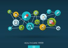 Abstract medicine background with lines, circles and integrate flat icons. Infographic concept with medical, health, healthcare, nurse, DNA, pills connected Stock Photos