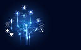 Abstract medisch digitaal het conceptenpictogram van de technologie digitaal gezondheid royalty-vrije illustratie