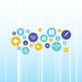 Abstract medisch gezondheidszorgpictogram op het blauwe ontwerp gradiënt van het achtergrondinnovatie infographic malplaatje Stock Foto