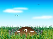 Abstract meeting on grass stock illustration