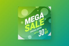 Abstract mega sale vector banner design template. Special offer discount social media promotion illustration layout. Exclusive fantastic abstract mega sale stock illustration