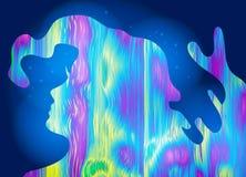 Abstract meisje, psychedelische stijlachtergrond Heldere droom, bewuste droom, creatief concept Vector illustratie Stock Foto