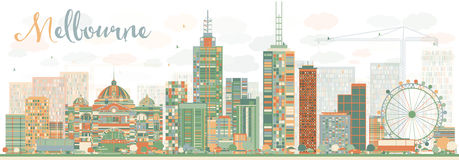 Abstract Melbourne Skyline with Color Buildings. Stock Photography