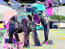 Abstract memphis digital painting of indian elephant Royalty Free Stock Photo