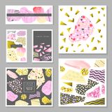 Abstract Memphis Posters Templates Set with Golden Glitter Geometric Elements. Banners, Cards, Brochure, Cover. Flyer Backgrounds. Vector illustration Stock Photo