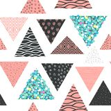 Abstract Memphis Seamless Pattern with Geometric Shapes. Hipster Background with Triangles. Vintage 80s 90s Design for Fabric. Poster, Cover. Vector Stock Photos