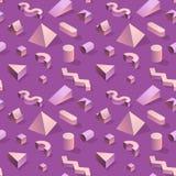 In Abstract Memphis Seamless Pattern met 3d Geometrische Vormen Manierachtergrond voor Textiel, Druk, Dekking, Affiche Royalty-vrije Stock Afbeelding