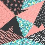 Abstract Memphis Seamless Pattern met Geometrische Vormen Hipsterachtergrond met Driehoeken Het uitstekende Ontwerp van de jaren  Stock Foto's