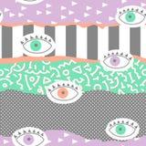 In Abstract Memphis Seamless Pattern met Ogen Hand Getrokken Geometrische Manierachtergrond voor Textiel, Druk, Dekking, Affiche Stock Foto's