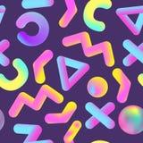 Abstract Memphis Seamless Pattern met Realistische Geometrische Vormen Vloeibare Vloeibare Achtergrond voor Affiche, Banner, het  Royalty-vrije Stock Afbeeldingen
