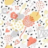 Abstract Memphis Seamless Pattern met Romantische Elementen Hipsterhand Getrokken Achtergrond met Harten Het uitstekende Ontwerp  vector illustratie