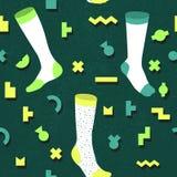 In Abstract Memphis Seamless Pattern met Sokken Hand Getrokken Geometrische Manierachtergrond voor Textiel, Druk, Dekking, Affich Royalty-vrije Stock Afbeeldingen