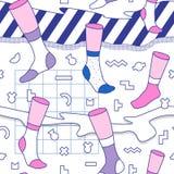 In Abstract Memphis Seamless Pattern met Sokken Hand Getrokken Geometrische Manierachtergrond voor Textiel, Druk, Dekking, Affich Stock Afbeelding
