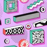 Abstract Memphis Seamless Patterns met 3d Geometrische Vormen Het Ontwerp van de de jaren '90stof van de manierjaren '80 In hipst Royalty-vrije Stock Foto