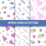 Abstract In Memphis Seamless Patterns Set Geometrische Vormen Witte Achtergronden voor Textuur, het Verpakken Royalty-vrije Stock Foto's