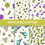 Abstract In Memphis Seamless Patterns Set Geometrische Vormen Witte Achtergronden voor Textuur, het Verpakken, Behang Royalty-vrije Stock Fotografie