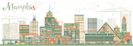 Abstract Memphis Skyline met Kleurengebouwen Royalty-vrije Stock Afbeeldingen