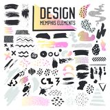 Abstract Memphis Style Design Elements Set Stock Foto