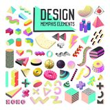 Abstract Memphis Style Design Elements Set. Geometric Shapes Collection with 3d Forms and Fluid for Patterns, Backgrounds. Brochure, Poster, Flyer, Cover Stock Images