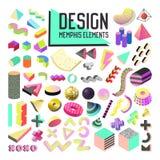 Abstract Memphis Style Design Elements Set Geometrische Vormeninzameling met 3d Vormen en Vloeistof voor Patronen, Achtergronden Stock Afbeeldingen