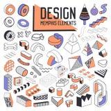 Abstract Memphis Style Design Elements Set Geometrische Vormeninzameling voor Patronen, Achtergronden, Brochure, Affiche Stock Foto