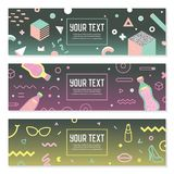 Abstract Memphis Style Horizontal Banners met Geometrisch Stock Foto