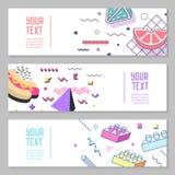 Abstract Memphis Style Horizontal Banners met Geometrische Elementen Royalty-vrije Stock Afbeelding