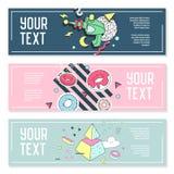 Abstract Memphis Style Horizontal Banners met Geometrische Elementen De creatieve Moderne Samenstelling van Hipster voor Affiche Stock Foto's
