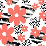 Modern abstract memphis style insprired hand drawn vector seamless pattern with pink flowers. vector illustration
