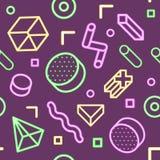 Abstract Memphis Style Neon Seamless Pattern met Geometrische Vormen Stock Fotografie