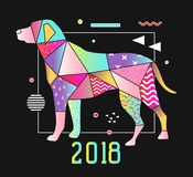 Abstract Memphis Style Placard met Hond voor 2018 Nieuwjaarontwerp Geometrische Vormen In Achtergrond Royalty-vrije Stock Foto's
