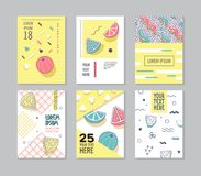 Abstract Memphis Style Posters Set. Geometric Shapes Cards. Trendy 80s-90s Patterns. Vector illustration vector illustration