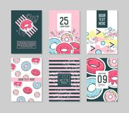 Abstract Memphis Style Posters Template Set. Vintage Hipster Fashion 80s-90s Backgrounds with Donuts for Banners. Ad, Cover. Vector illustration Stock Photography
