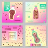 Abstract Memphis Style Posters Templates Set. Vintage Hipster Fashion 80s-90s Backgrounds with Drinks for Banners. Ad, Covers, Placards. Vector illustration Royalty Free Stock Photos