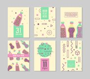 Abstract Memphis Style Posters Templates Set. Vintage Hipster Fashion 80s-90s Backgrounds with Drinks for Banners. Ad, Covers, Placards. Vector illustration Royalty Free Stock Photography