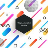 Abstract memphis style retro background with multicolored simple geometric shapes and copy space frame. Black triangles. Vector abstract memphis style retro stock illustration