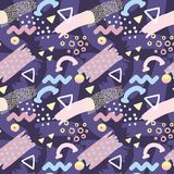 Abstract Memphis Style Seamless Pattern met Geometrisch Royalty-vrije Illustratie