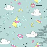 Abstract Memphis Style Seamless Pattern met Geometrische Piramide vector illustratie
