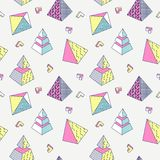 Abstract Memphis Style Seamless Pattern met Geometrische Vormen stock illustratie