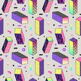 Abstract Memphis Style Seamless Pattern met Geometrische Vormen en Kubussen Vector Illustratie