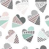 Abstract Memphis Style Seamless Pattern met Harten De gelukkige Achtergrond van de Valentijnskaartendag voor Document van Stoffen Stock Afbeeldingen