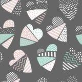 Abstract Memphis Style Seamless Pattern met Harten De gelukkige Achtergrond van de Valentijnskaartendag voor Document van Stoffen Royalty-vrije Stock Foto's