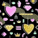 Abstract Memphis Style Seamless Pattern met Roze en Gouden Harten De gelukkige Achtergrond van de Dag van Valentijnskaarten Stock Afbeeldingen