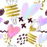 Abstract Memphis Style Seamless Pattern met Roze en Gouden Harten De gelukkige Achtergrond van de Valentijnskaartendag voor Groet Stock Foto