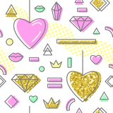 Abstract Memphis Style Seamless Pattern. With Pink and Golden Hearts. Happy Valentines Day Background. Vector illustration Stock Image