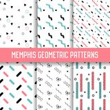 Abstract Memphis Style Seamless Pattern Set. Geometric Shapes Background.. 80-90s Fashion Design. Wallpaper, Wrapping Paper, Texture. Vector illustration Royalty Free Stock Photography
