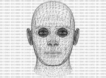 Abstract Menselijk Hoofd met Binaire code Royalty-vrije Stock Afbeelding