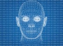 Abstract Menselijk Hoofd met Binaire code Stock Afbeeldingen