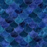 Abstract mermaid scales seamless pattern. Fish skin texture in navy blue colors