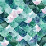 Abstract mermaid scales seamless pattern. Fish skin texture in teal turquoise colors